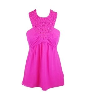 Tibi Hot Pink Halter Silk Blouse